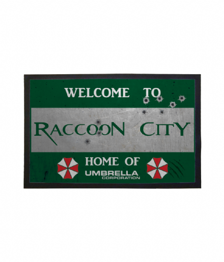 Raccoon City Sign Doormat Resident Evil Inspired Welcome Mat